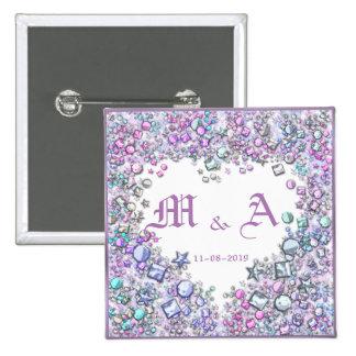 Romantic Heart Wedding Couple Date Initials Pink 15 Cm Square Badge