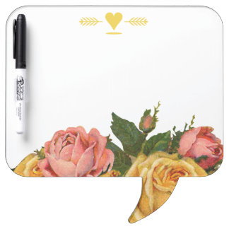 Romantic Heirloom Vintage Floral Roses Dry Erase Board