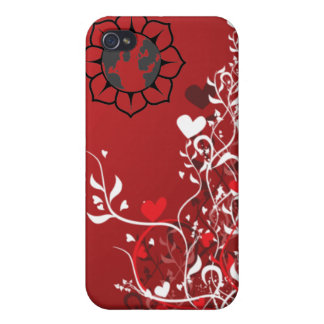 Romantic Holiday red hearts flowers graffiti case iPhone 4 Cases