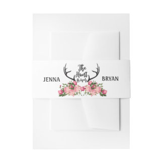 Romantic Hunt is Over Rustic Antler Floral Wedding Invitation Belly Band