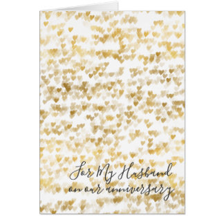Romantic I Love You Anniversary Gold Hearts Card