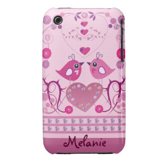 Romantic iPhone 3G/3GS Case with Love Birds & name iPhone 3 Covers