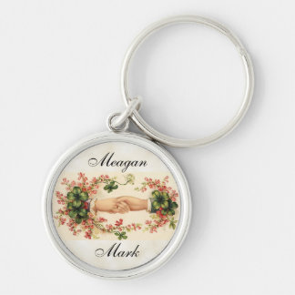 Romantic Irish Wedding Favors Silver-Colored Round Key Ring