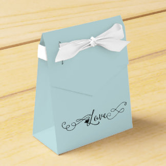 Romantic Island Paradise Blue with Calligraphy Favour Box