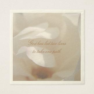 Romantic Ivory Magnolia Bridal Luncheon Disposable Napkin