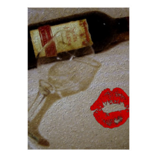 Romantic kiss Red wine glasses I Love Wine Poster