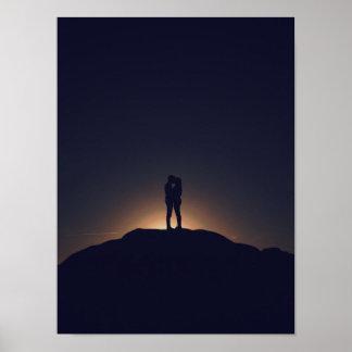 Romantic Kiss silhouette Poster