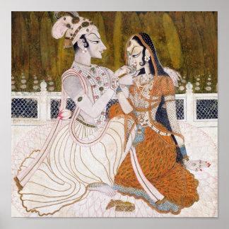 Romantic Krishna and Radha Painting Poster