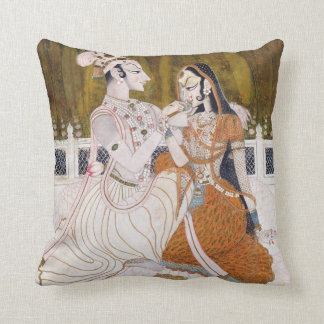 Romantic Krishna and Radha Throw Pillow
