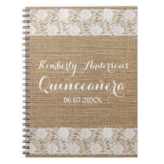 Romantic Lace and burlap Quinceañera Guest Book Notebooks