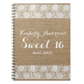 Romantic Lace and Burlap Sweet 16 Guest Book Spiral Note Book