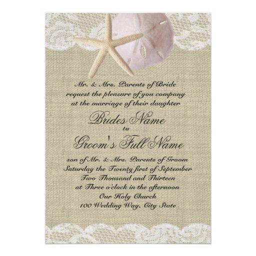 Romantic Lace and Sea Shell Beach Wedding Personalized Invitation