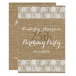 Romantic Lace burlap 25th Birthday Party Flat Card