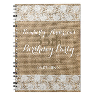 Romantic Lace burlap 35th Birthday Guest Book Note Book