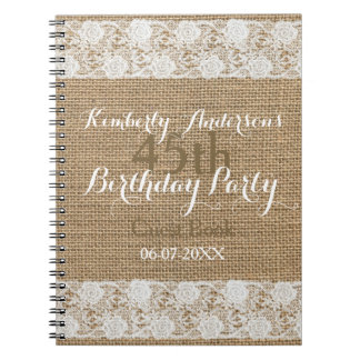 Romantic Lace burlap 45th Birthday Guest Book Spiral Note Book