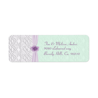 Romantic Lace & Flower, Lavender & Mint Green Return Address Label
