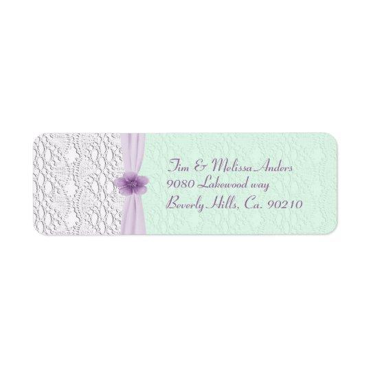 Romantic Lace & Flower, Lavender & Mint Green Return Address Label