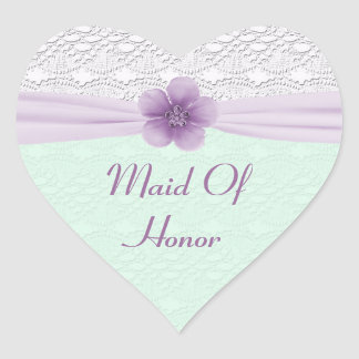 Romantic Lace Flower Mint Green Lavender Bridal Heart Sticker