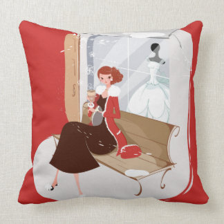 Romantic Lady Woman Drinking Coffee on a Bench Cushion