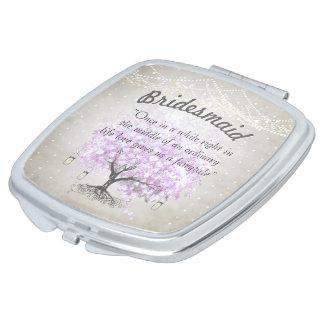 Romantic Lavender Hearleaf Tree Wedding Quote Travel Mirror