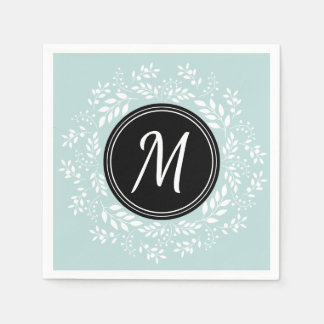 Romantic light blue Floral Wreath Custom Monogram Disposable Napkins