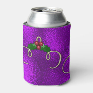 Romantic Lilac Christmas Swirls Can Cooler