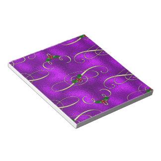 Romantic Lilac Christmas Swirls Notepad