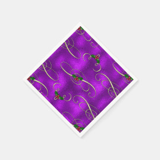 Romantic Lilac Christmas Swirls Paper Serviettes