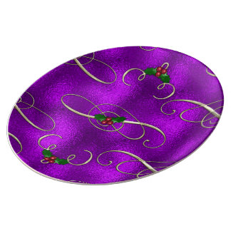 Romantic Lilac Christmas Swirls Plate