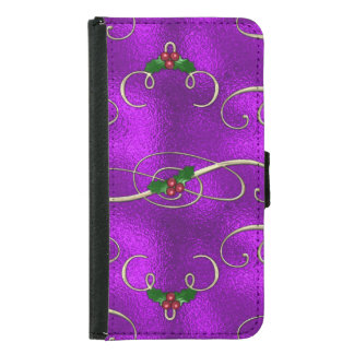 Romantic Lilac Christmas Swirls Samsung Galaxy S5 Wallet Case