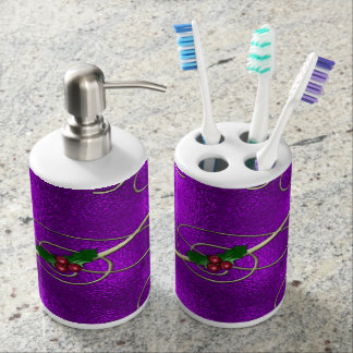 Romantic Lilac Christmas Swirls Soap Dispenser And Toothbrush Holder
