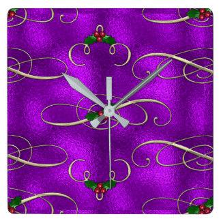 Romantic Lilac Christmas Swirls Square Wall Clock