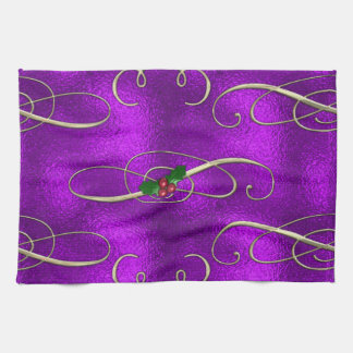 Romantic Lilac Christmas Swirls Tea Towel