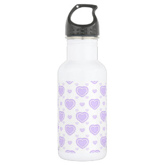 Romantic Lilac & White Hearts 532 Ml Water Bottle