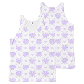 Romantic Lilac & White Hearts All-Over Print Singlet