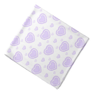 Romantic Lilac & White Hearts Bandana