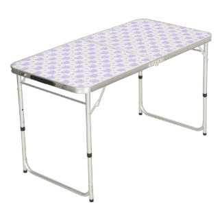 Romantic Lilac & White Hearts Beer Pong Table