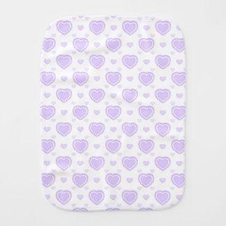 Romantic Lilac & White Hearts Burp Cloth