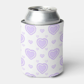 Romantic Lilac & White Hearts Can Cooler
