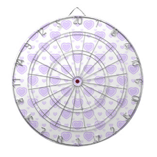 Romantic Lilac & White Hearts Dartboard