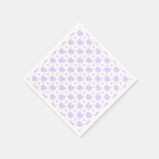 Romantic Lilac & White Hearts Disposable Serviette