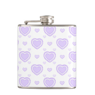 Romantic Lilac & White Hearts Hip Flask