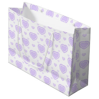 Romantic Lilac & White Hearts Large Gift Bag