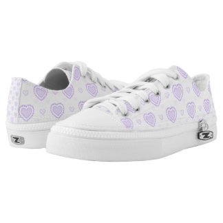 Romantic Lilac & White Hearts Low Tops