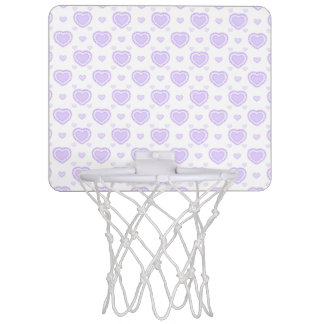 Romantic Lilac & White Hearts Mini Basketball Hoop