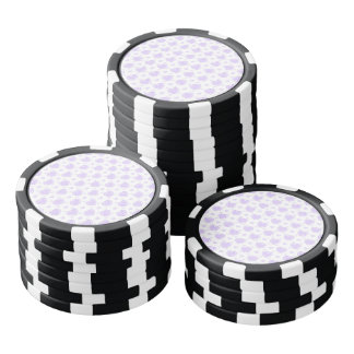 Romantic Lilac & White Hearts Poker Chips