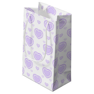 Romantic Lilac & White Hearts Small Gift Bag
