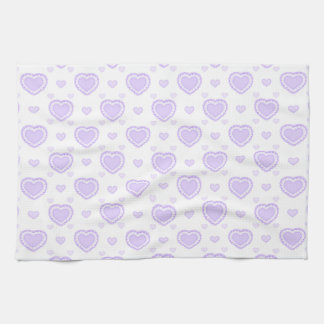 Romantic Lilac & White Hearts Tea Towel