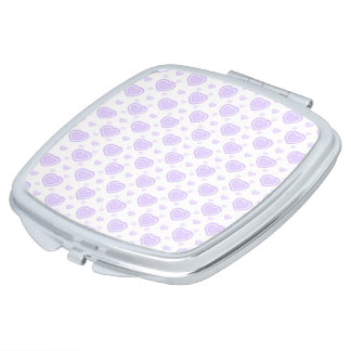 Romantic Lilac & White Hearts Vanity Mirror