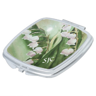ROMANTIC LILY OF THE VALLEY COMPACT MIRROR